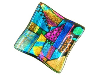 Dichroic Glass Trinket Dish in Vibrant Colorful Unique Art Glass- One of a kind fused glass dish by Uneek Glass Fusions