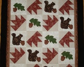 Bear Paw and Squirrel Quilt Top unfinished ready for quilting applique blocks pieced blocks wall hanging autumn Fall decor