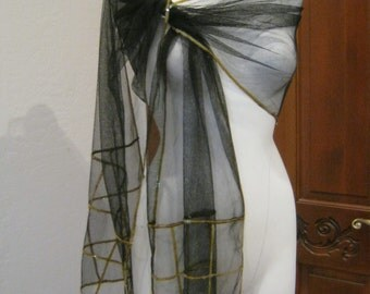 Vintage black mesh shoulder wrap with gold sequins, sequin trim black mesh evening wrap. 90 by 16 inch dressy black mesh wrap