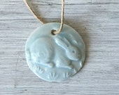 1 Ceramic Pottery porcelain small bunny  charm in Robin's egg blue