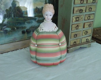 Repurposed Antique Doll Bust Pin Cushion Lady