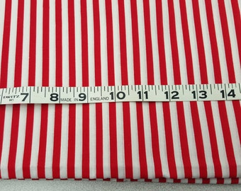 True Red and White Stripe Cotton fabric over 1-2/3yd
