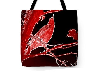 Red Bird Tote Bag, Woodland Crow Art, School or Personal Book Bag, Reusable Carry-All, Uni-Sex Tote, Women's Fashion, Red Black Design