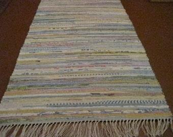 Handwoven Light Mutli Rag Rug (M) 25 x 59