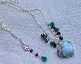 Ruby Ziosite Heart Sterling Silver Necklace. Ruby, Ziosite, Garnet, Green Onyx. Monet Lily Pond Pendant. Silversmith. Fine Jewelry.
