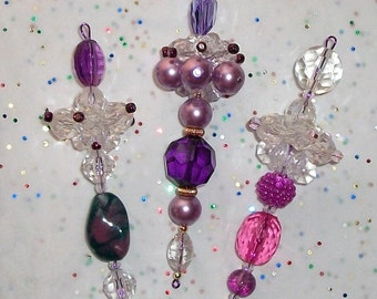3 Christmas Dangle Tree Ornaments, Pink and Purple , Set of Three (18)