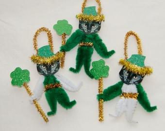 Black Cats St. Patrick's Day Vintage Style Chenille Ornaments,  Bump chenille (173)