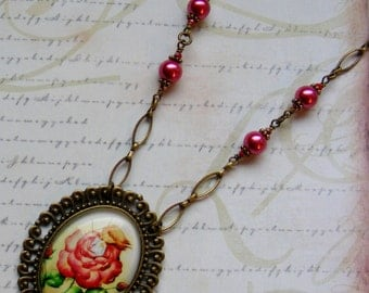 Elf in a Rose-brass chain necklace, ephemera, 25 1/2 inches or 64.5 cm