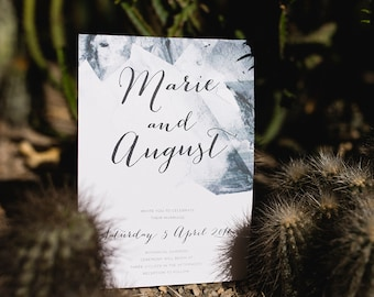 Geometric Watercolor Geode Calligraphy Wedding Invitation Suite • Ready to Post Printable • Modern, Minimalist Style