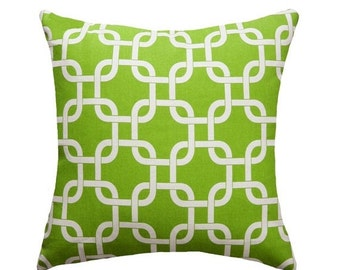 Green Pillow, Chain Link Pillow, Gotcha Chartreuse Green STUFFED Throw Pillow, Chain Link Decorative Pillow, Chartreuse Cushion, 16x16