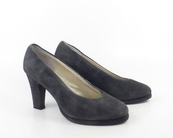 Gray Suede Heels Shoes Vintage 1990s BP Nordstrom Brass Plum Leather Women's size 7 B