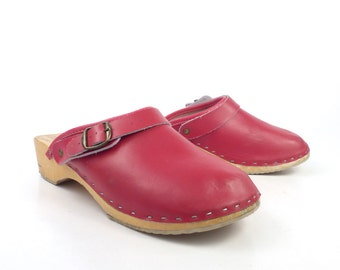 Wooden Clogs Shoes Vintage 1980s Red Sweden Swedish Leather Size 40