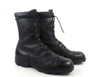 Combat Boots Vintage 1980s Black Leather Lace Up Grunge Men's size 8 W