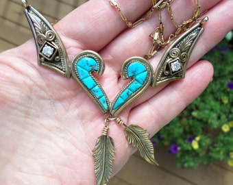Navajo Native American S Ray silversmith gold wash sterling silver Turquoise feather swirl NECKLACE cz gorgeous statement piece