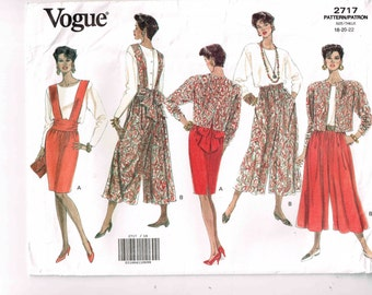Culottes Split Skirt, Jacket, Top and Bib Vogue 2717 Sewing Pattern Misses Full Figure Plus Size 18 20 22 Bust 40 42 44 Woman