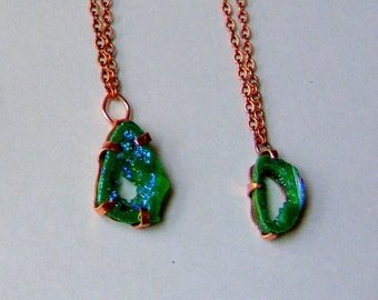 The Envy Two - Titanium Coated Agate Geode Druzy Green Pendant in Copper Prong Setting