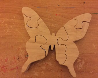 Wooden 5 piece handmade wooden Butterfly jigsaw puzzle