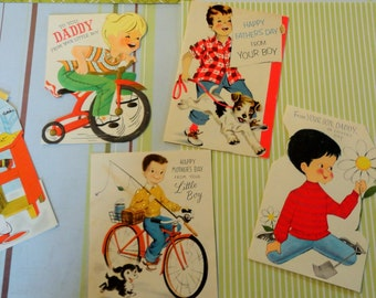 Bicycles Little Boys in Various Activities and Play in Vintage All Occasion Lot No 165 Total of 6 Baseball Mommy and Daddys Boy