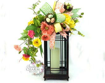 Spring Lantern Swag with Daisies & Birds Nest in Yellow, Lime, Peach, Easter Lantern Swag, Spring Decor, Floral Swag,