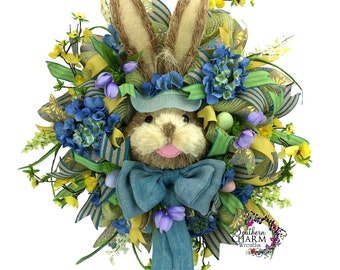 Burlap Easter Bunny Wreath in Blue & Yellow with Bunny Head -Easter Wreath -Easter Decor -Spring Decor -Front Door Decor -Door Wreath