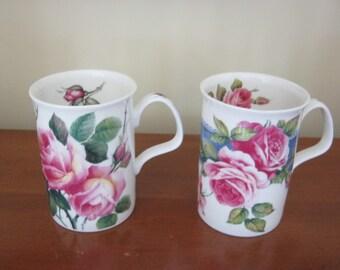 Set of Two Lovely Vintage Roy Kirkham Bone China Mugs Different Rose Patterns