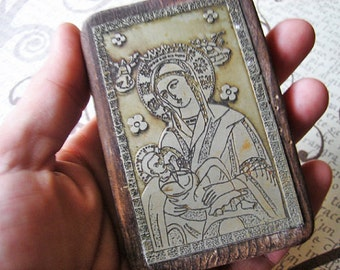 RESERVED for Colleen - Antique copper printing plate, Holy Mary relic, Madonna platelet - please do not buy unless you're COLLEEN