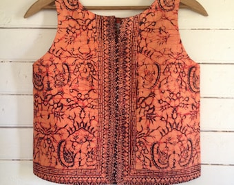 summer shirt sleeveless top - easy fit Small - Mount Merapi