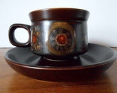 Vintage DENBY England Arabesque Cup and Saucer, Brown, Gold, Red, Retro Mod Flower