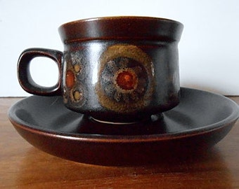 "Modernist DENBY England ""Arabesque"" Cup and Saucer, Brown, Gold, Red / Retro Mod Flower"