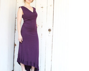 Cascade Drape Neck Dress - Organic Fabric - Made to Order - Many Available Colors