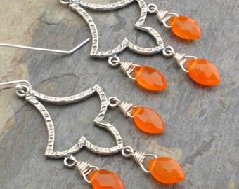 Carnelian Sterling Silver Earrings - Boho