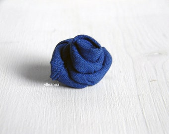 Men's lapel pin. Men lapel flower. Men's boutonniere. Rose boutonniere, Lightweight cool wool. Royal blue.