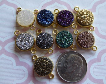 DRUZY Drusy Bezel Gemstone Connector Link Pendant Charm / 1 pc, 11 mm / u pick color / Sterling Silver or 24k Gold Plated / ap31.8 gcl.d9 ll