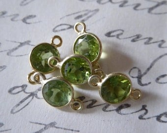 Shop Sale, 1 5 10 pc, Gemstone Connectors Links, PERIDOT, 6.5 mm, 24k Gold Plated over Sterling Silver, august sgc gcl2.V ll gc