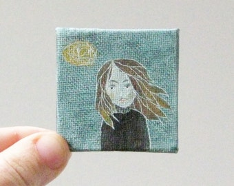 windy girl  / MINIATURE painting on canvas panel