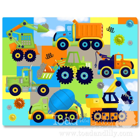 Lots of Trucks Bright Construction Patchwork Extra Large Stretched Canvas Children's Bedroom Wall Art CS0004