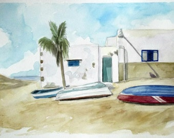 fishermen village watercolor