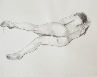 nude pencil woman original life drawing figure wall art