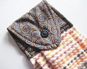 Hanging kitchen towel  button top Southwest colors  towel  Quiltsy handmade