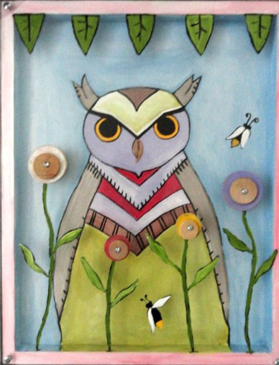 Original, Dimensional, Mixed Media, Folk Art, Owl, Wood Painting