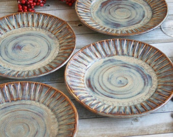 Rustic Side Plates Handmade Set of Four Stoneware Dishes Original Dinnerware with Hand Carved Rims Made in the USA Pottery