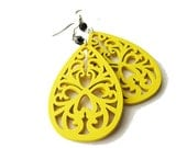 Yellow Wooden Filigree Earrings with Black Glass Beads
