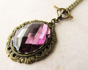 Amethyst Purple Glass Jewel Necklace with Toggle Closure , Vintage Gothic Style Jewellery