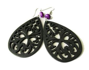 Black Teardrop Filigree and Purple Stone Earrings