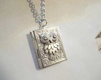 Owl Locket Necklace Silver Owl Necklace Book Locket Necklace Owl Jewelry