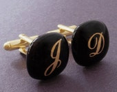Custom monogrammed Cufflinks  - Gold initials on black glass - Gold plated hardware.