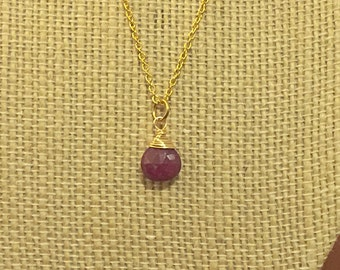 Faceted Ruby Teardrop Necklace on 14k Gold