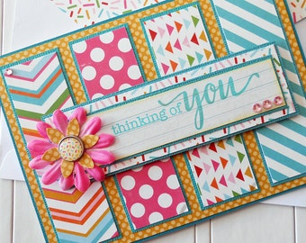 Thinking of You Card with Matching Embellished Envelope - Flower Power