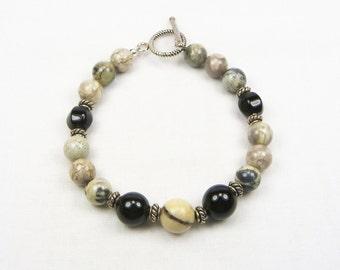 Black Onyx - Silver Leaf Jasper - Black Dot Jasper - Beaded Bracelet - Beaded Jewelry - Genuine Gemstones - Gift for Her - Sterling Silver