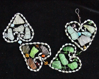 Sea Glass Heart Suncatcher With Colors Representing the Four Seasons